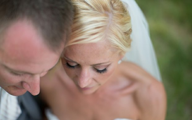 A bride and groom on their wedding day. Makeup by Jen Santoro Rotty