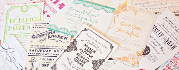 A pile of invitations by Spark Letterpress