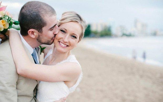 A bride and groom, makeup by Mollie Kae