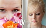 Warpaint International makeup artistry bride with flowers and bride with veil