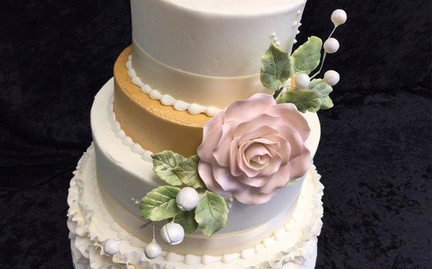 A wedding cake from Grandma's Bakery in White Bear Lake