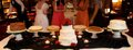 farmington bakery bridesmaids with table of cakes and pies