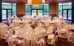 A banquet hall set up for a wedding reception at the Minnesota Zoo