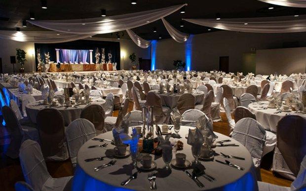 A wedding reception setup at the Ukrainian Event Center