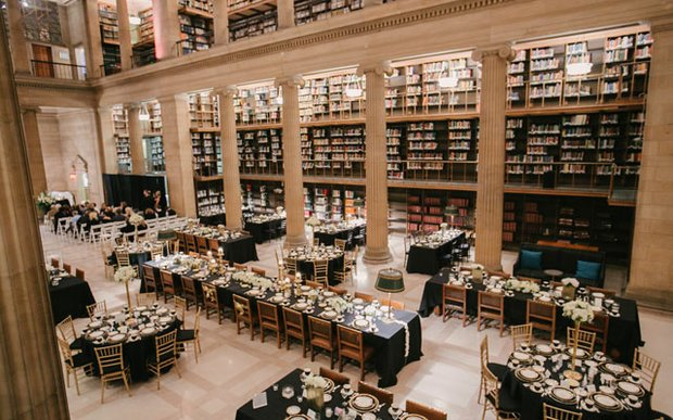 A wedding reception setup at the James J. Hill Reference Library in St. Paul, MN