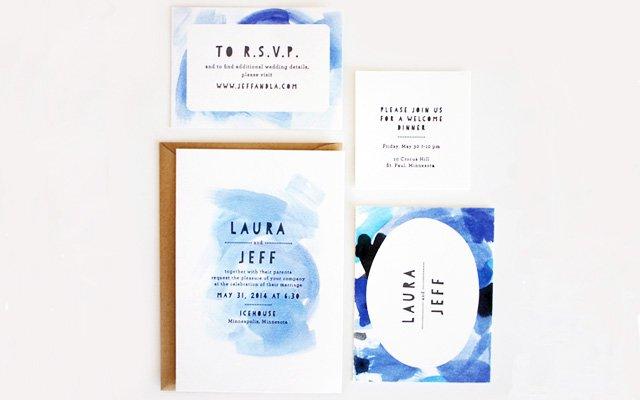 A wedding invitation suite by Printerette Press