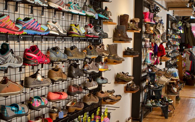 A wall of shoes inside 45 Degrees boutique in Stillwater, MN