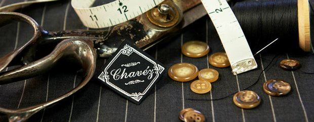 Vignette of sewing items at Chavéz Custom Clothiers