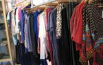 A rack of clothes at women's boutique Stephanie's in St. Paul