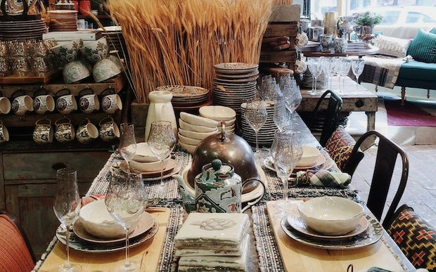 A fall display in Anthropologie's Edina, MN store