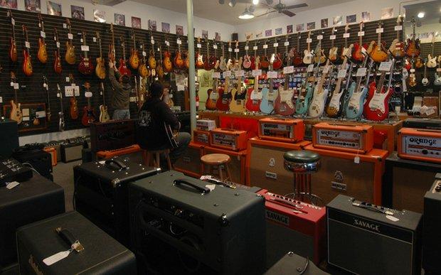 Interior of Willie's American Guitars