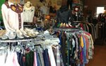 Racks of clothes at B-Squad Vintage