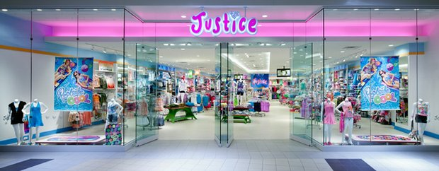 Exterior of girl's store Justice store at a mall