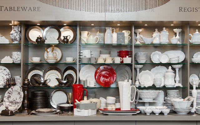 Tableware display at Ampersand in the Galleria