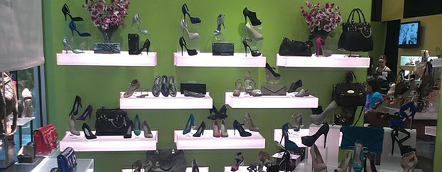Shelves of shoes at Steve Madden Mall of America