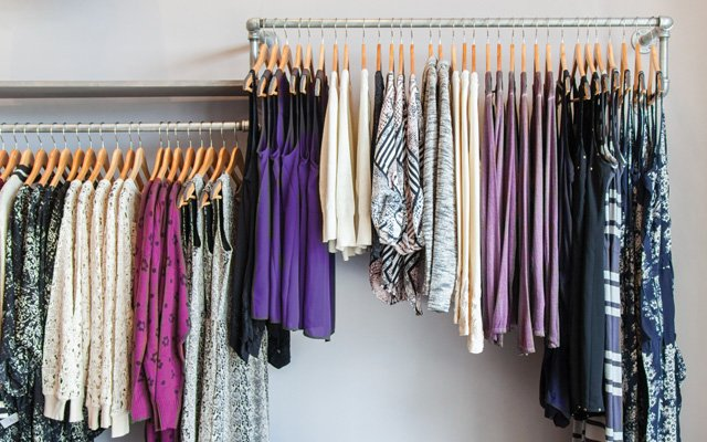 A rack of clothing at Sisu boutique in Woodbury