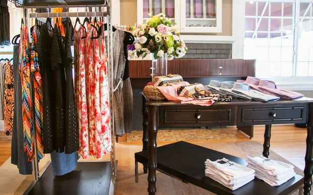 A rack of clothing at Harpers Bryn Mawr in Minneapolis