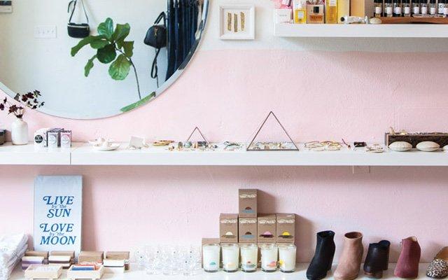 A shelf display inside Mill in South Minneapolis
