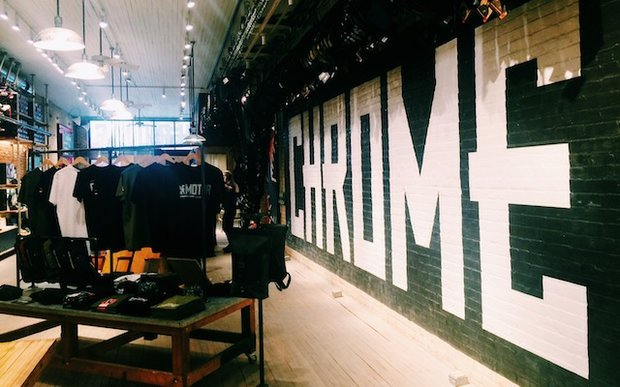 Interior of Chrome urban cycling store in North Loop, Minneapolis
