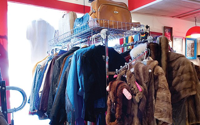A rack of clothes at Blacklist Vintage in Minneapolis