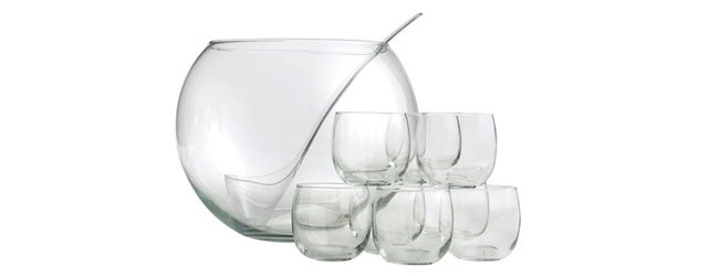 Punch Bowl and glasses with recipe