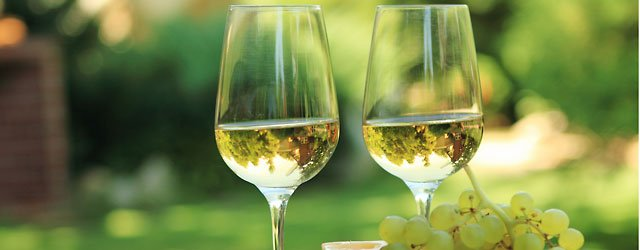 White wines in glasses outdoors