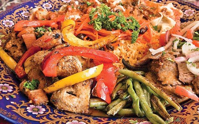 the sampler platter at Afghan Restaurant