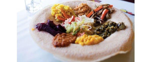 Sampler platter at Dillas Ethiopian