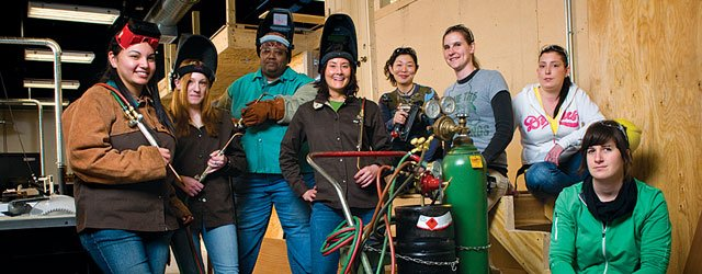 Women in the electrical, welding, and cabinetmaking programs at Saint Paul College