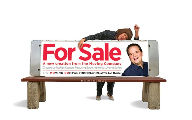 Woman leaning on bus stop bench. Bench has ad for Moving Company.