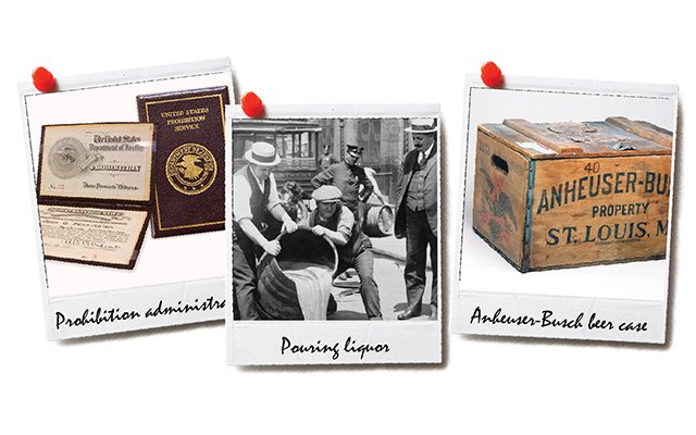 Three Polaroids of prohibition. Pouring out beer, beer case, badge.