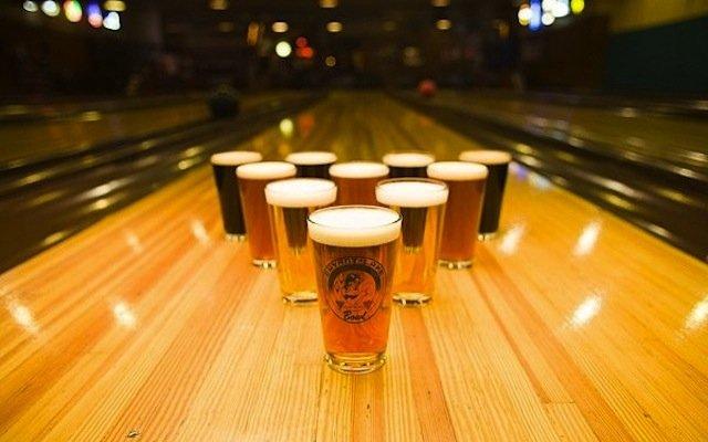 Beer bowling pins at Bryant Lake Bowl in Minneapolis, Minnesota.