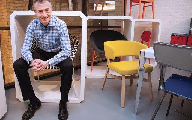 Robert Kelen of Bentavo with his Italian chairs