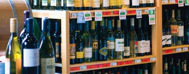 Wine shelf in a liquor store