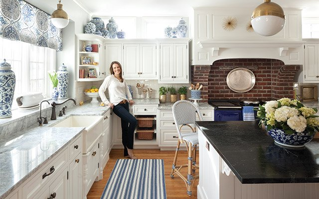 Patricia Engle in her Edina Kitchen, designed by Kerry Ciardelli of Victory Home & Interiors