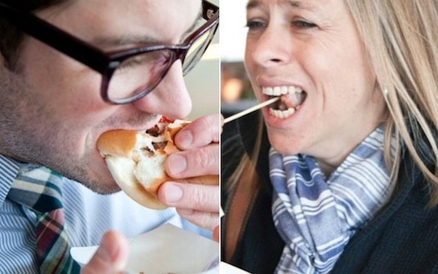 Stephanie March and Drew Wood eating at Target Field's 2014 new food preview.