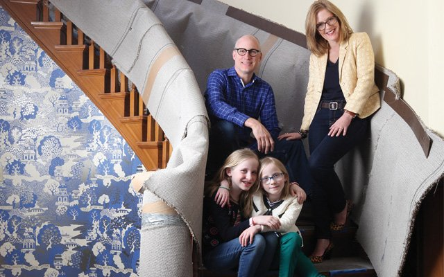 Jayne Haugen Olson and family in their home under rennovation