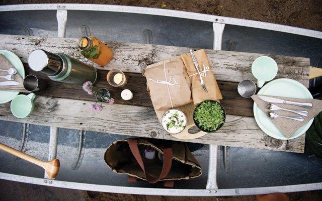 Picnic spread on a canoe
