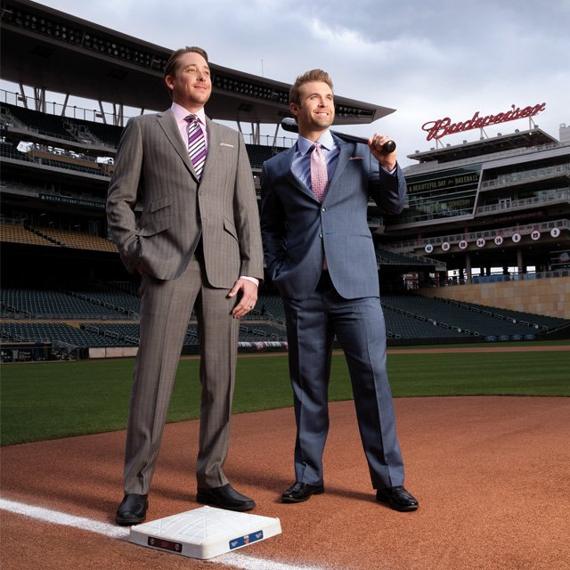 Kevin Correia and Brian Dozier on the MN Twins' Target Field