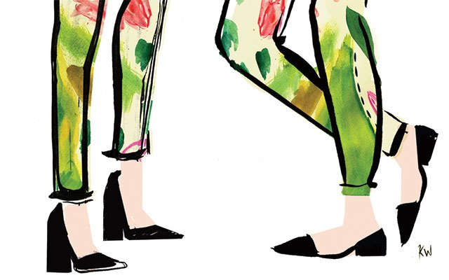 Girls' shoes and pants illustration by Kate Worum