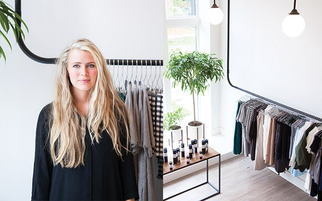 Dahlia Brue in her boutique, Idun