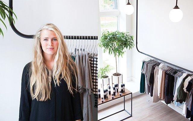 Dahlia Brue in her boutique, Idun