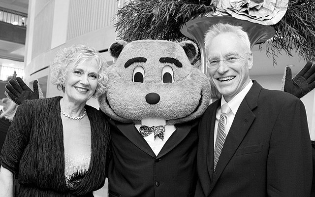 Goldie the Gopher socializes at the Northrop Opening Gala.