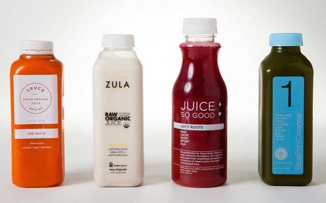 The Vacay from Truce, Cashew Dream from Zula, Juicy Roots from Juice So Good, and Green Juice from B