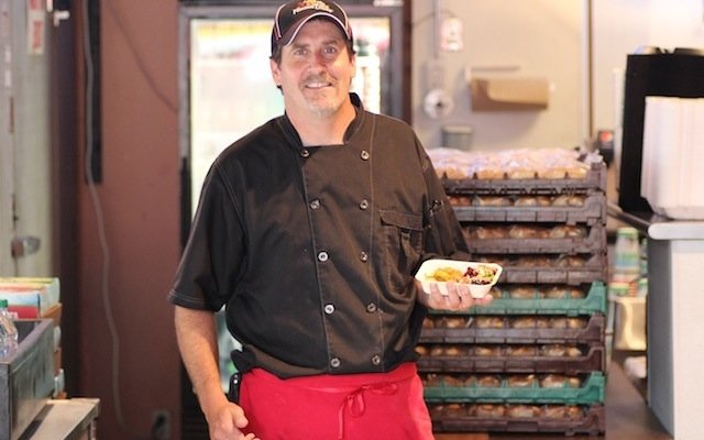 Famous Dave's executive chef Charlie Torgerson with his new State Fair recipe Korean BBQ Collar.