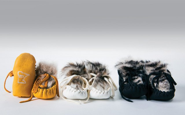 Minnemocs infant moccasins made in Minnesota by a University of St. Thomas student