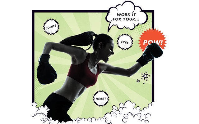 """illustration of woman with boxing gloves punching cartoon bubble saying """"Pow!"""""""