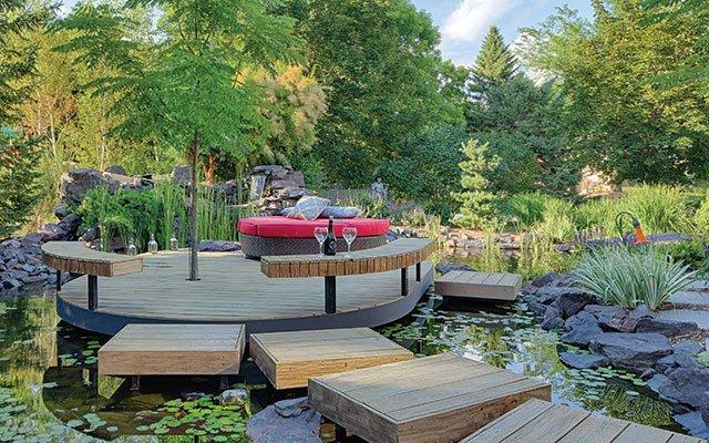 Garden outside a luxury home
