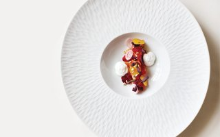 Smoked sea trout with beets, flying fish roe, and hazelnuts at La Belle Vie
