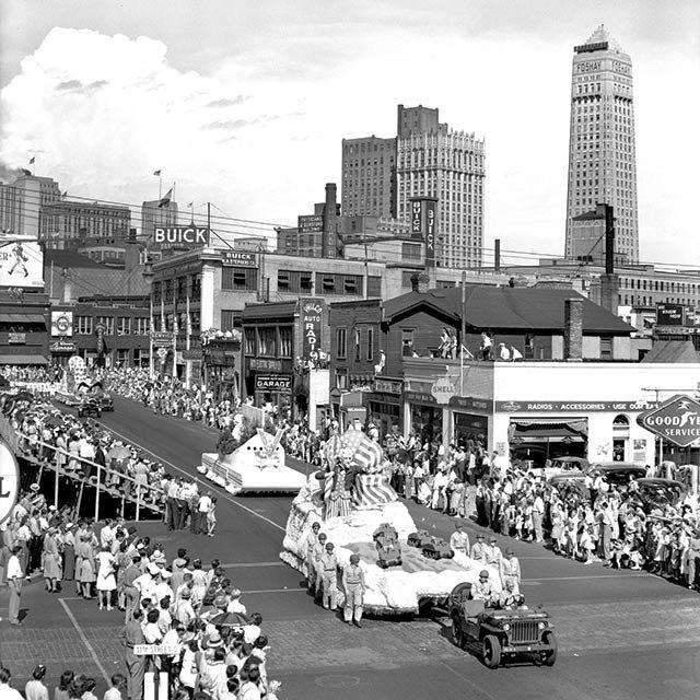The 1943 Aquatennial Parade on Hennepin Avenue, Minneapolis